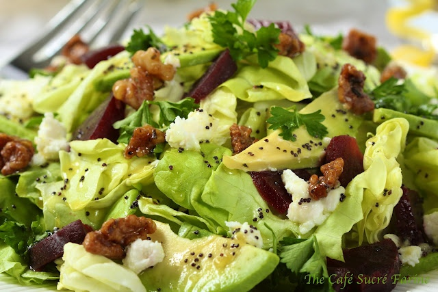 Avocado & Roasted Beet Salad w/ Goat Cheese, Rosemary-Honey Roasted ...