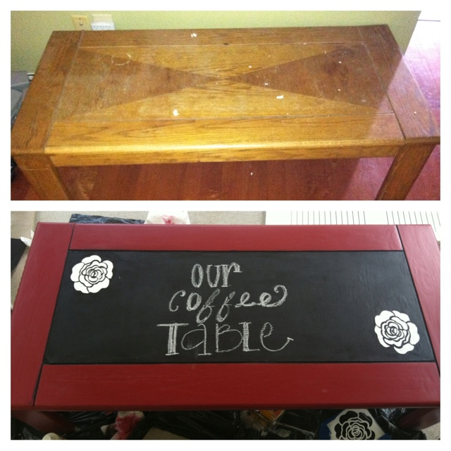 I turned an old table into a chalk coffee table! I recommend the project!