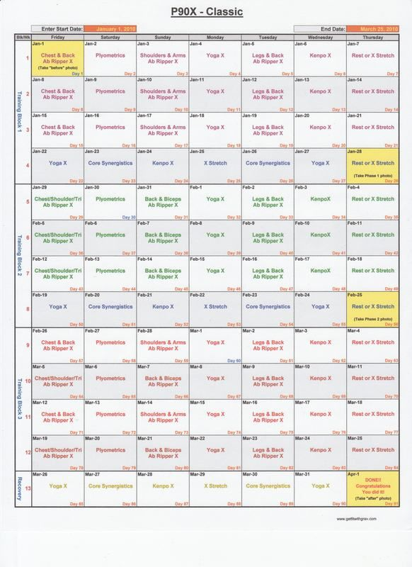 P90X Workout Schedule Calendar Printable moreover p90x insanity hybrid ...
