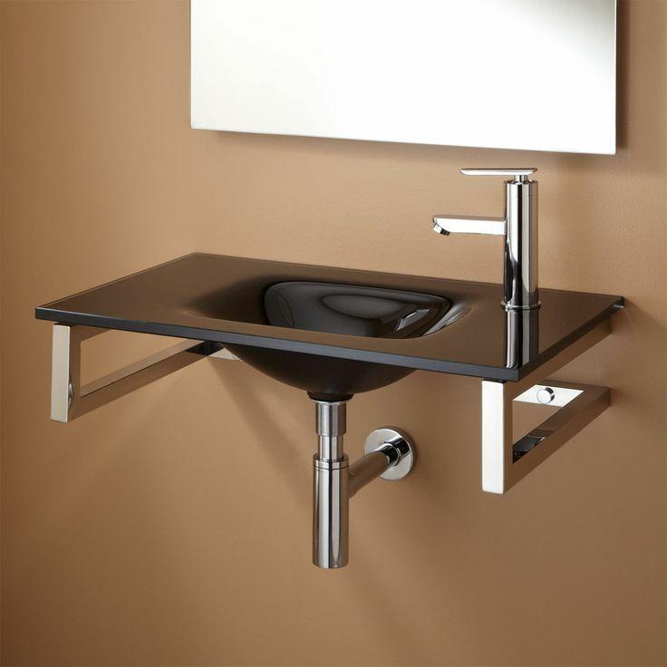 Glass Wall Mount Sink : Orcas Wall-Mount Glass Sink - Black