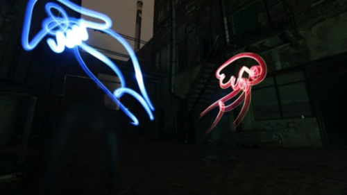 Catch all 5 at http://5thin.gs/may-16-2012    1. This goes beyond light painting into light puppeteering [video]