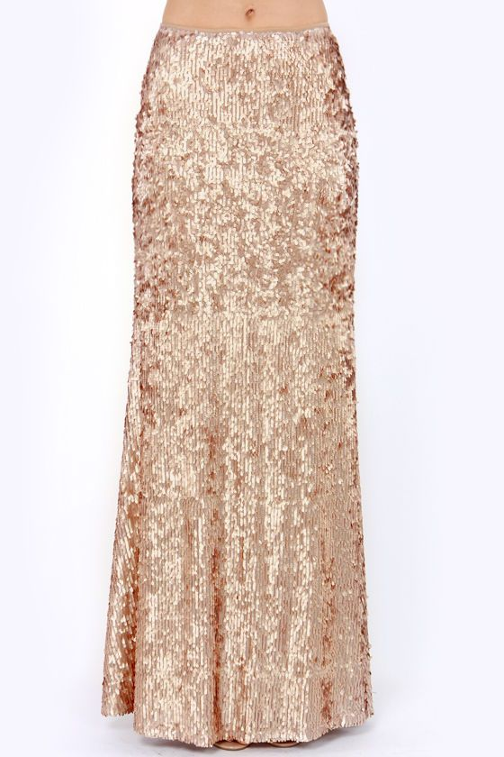 exclusive or shine gold sequin maxi skirt