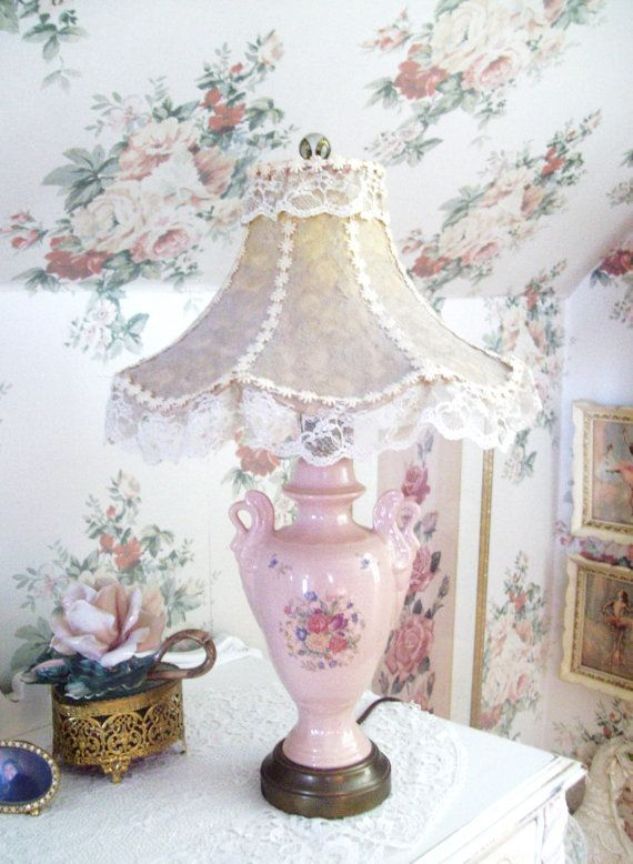 vintage pink lamp and lace shade shabby chic style table. Black Bedroom Furniture Sets. Home Design Ideas