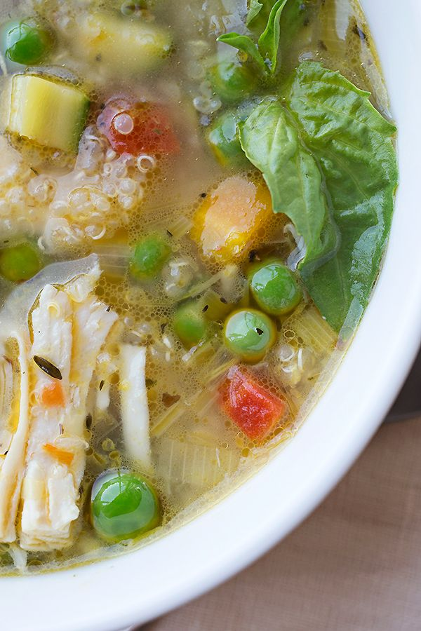 Simple Lemony Chicken & Spring Veggie Soup with Quinoa & Fresh Basil ...