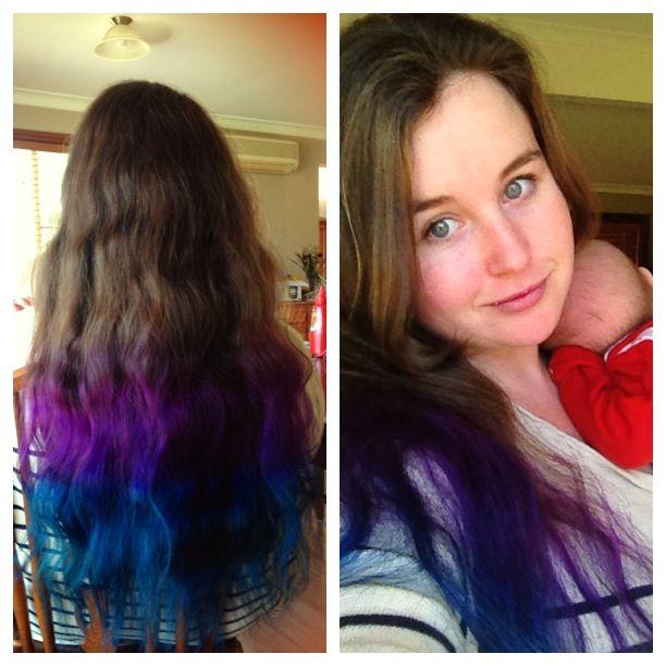 Dip Dye Hair Blue And Purple On Natural Brunette Hair