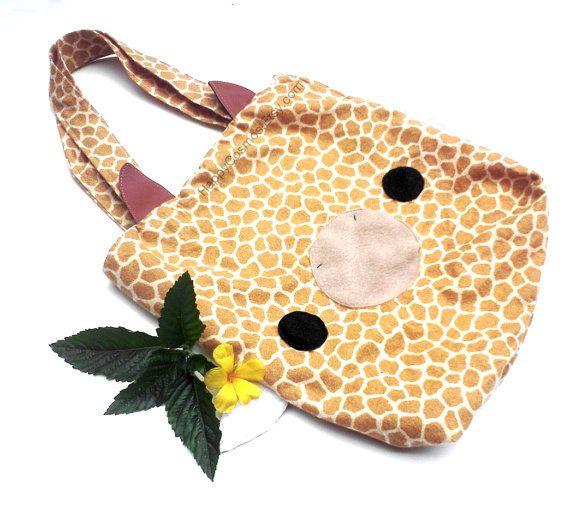 Tote Bag - Giraffe Print , Cute Tote , Kawaii Schoolbag. $25.00, via ...