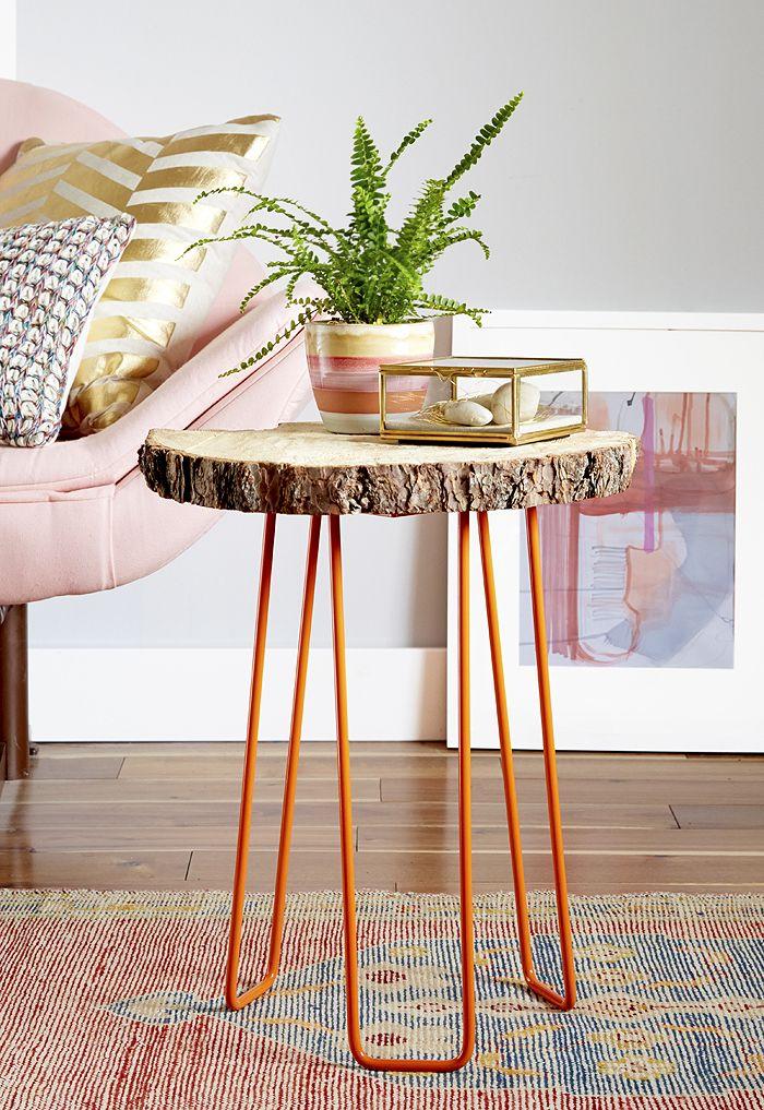 DIY wood slab & hairpin leg side table