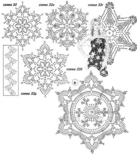 Вязание крючком схемы снежинок 59