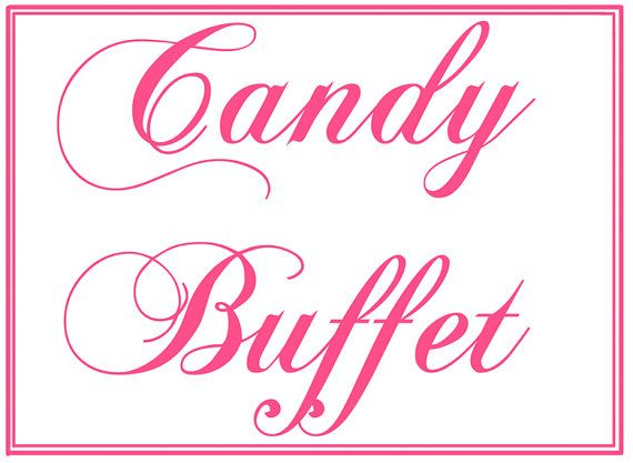 Peaceful image with free printable candy buffet signs