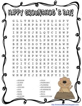 Ground Hogs Day Word Searches