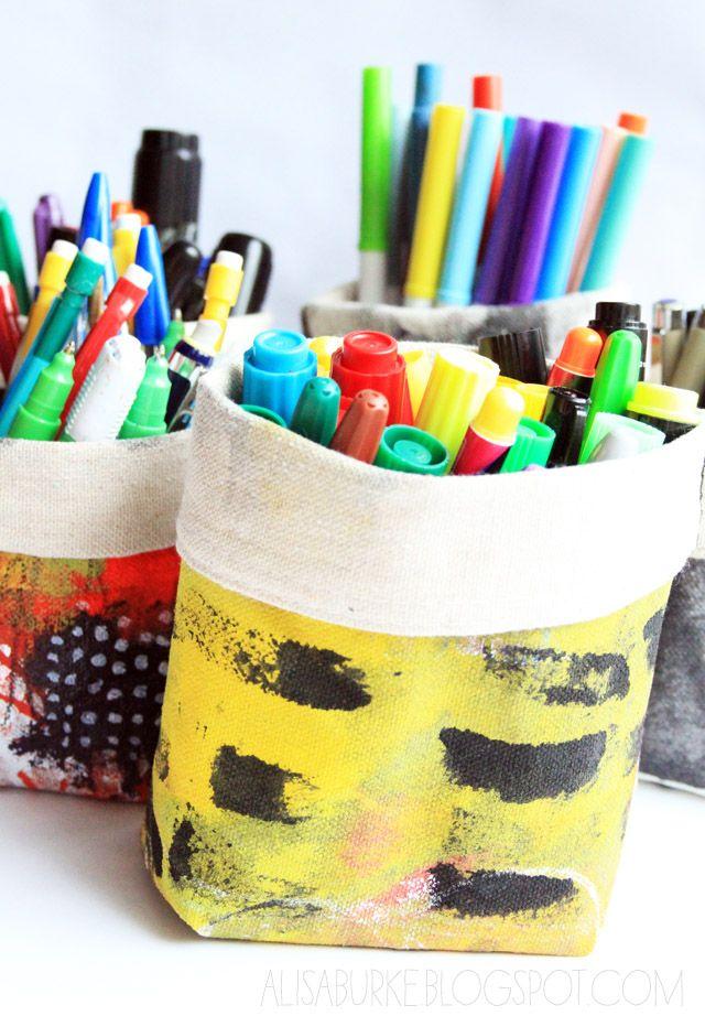 DIY: canvas pencil holders