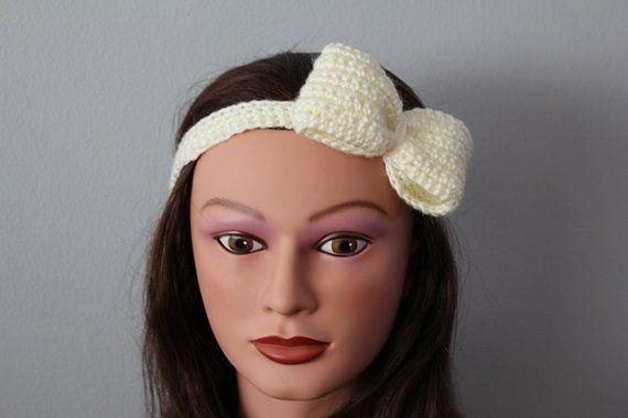 Crochet Hair Wrap : Ivory bow crochet hair wrap, headband, headcover, ear warmer, warm he ...