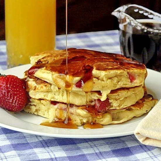 Strawberries and Cream Pancakes | Recipes-Misc. Breakfast | Pinterest