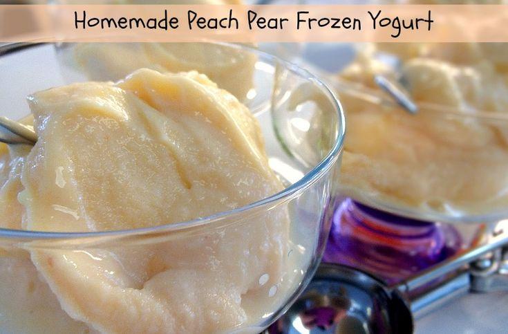 Homemade Peach Pear Frozen Yogurt - No ice cream maker needed ...