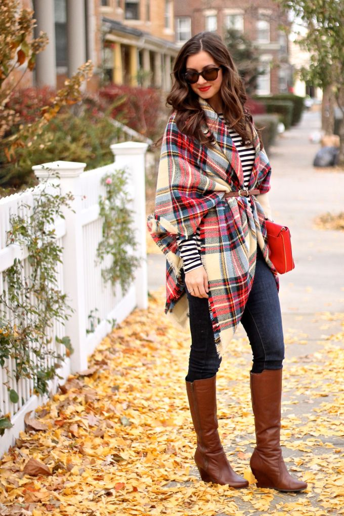 Thanksgiving Outfit: Plaid Blanket Scarf, Stripes, Cognac Tall Bootis