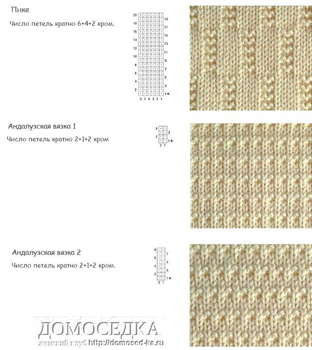 Вязание спицами. узоры из лицевых и изнаночных петель