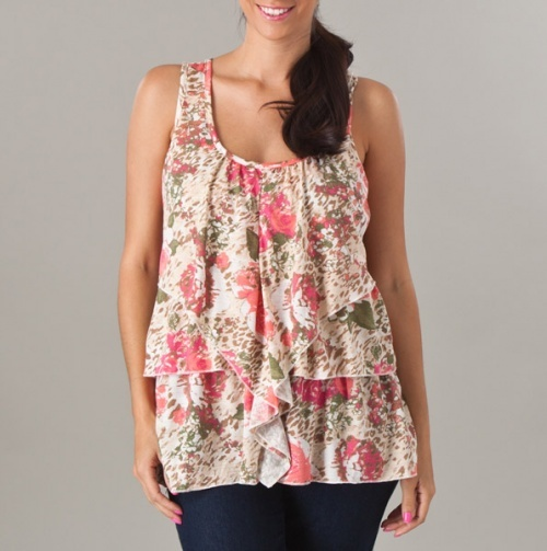 Scoop-neck printed tiered tank