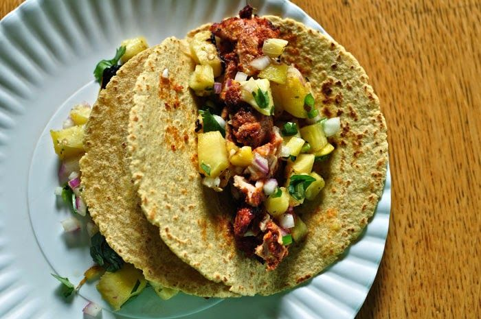 ... pineapple salsa al pastor soft tacos with shaved pork pineapple salsa