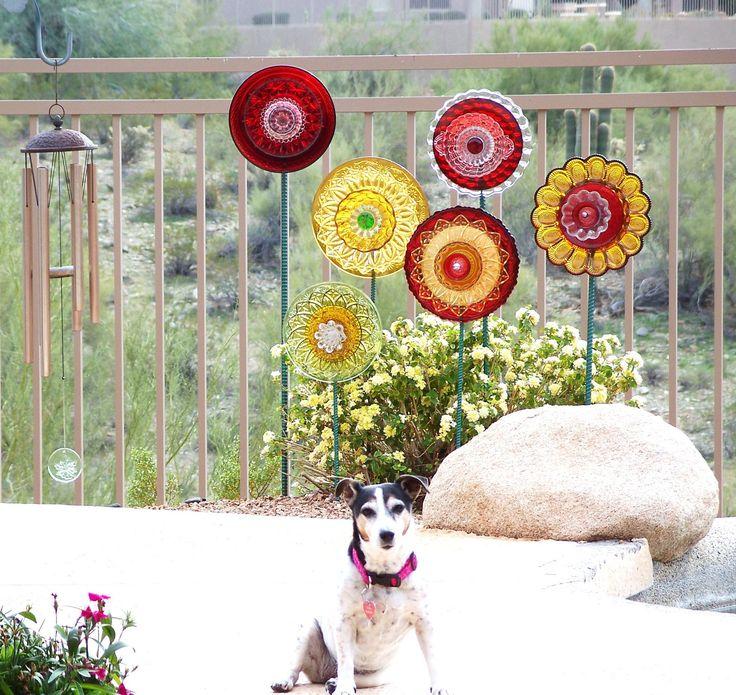 Garden art decor vintage red glass flower suncatcher for Garden art from old dishes