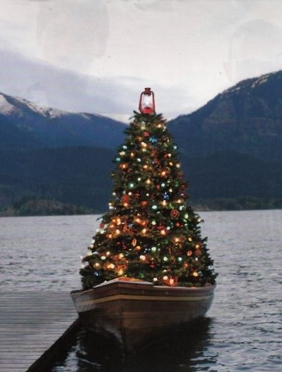 Christmas tree on a boat