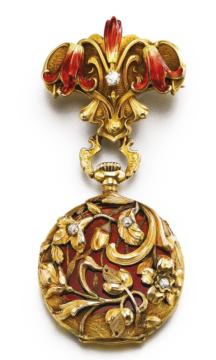 14k Yellow Gold, Translucent Red Enamel And Diamond-Set Pendant Watch With Brooch   c.1900   -   Sotheby's