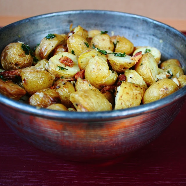 Oven Roasted Potatoes with Parsley, Parmesan and Bacon