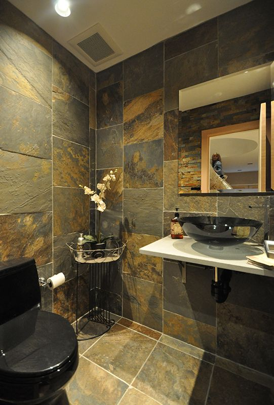 Rustic Slate 1/2 Bath with Vessel Sink Bathrooms Pinterest