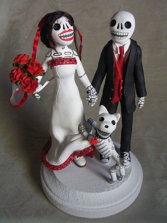 Custom Day of the Dead Wedding Cake Topper Skeleton by ClayLindo