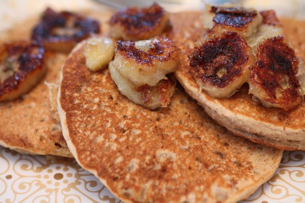 Banana Pecan Pancakes with Caramelized Bananas | Recipe