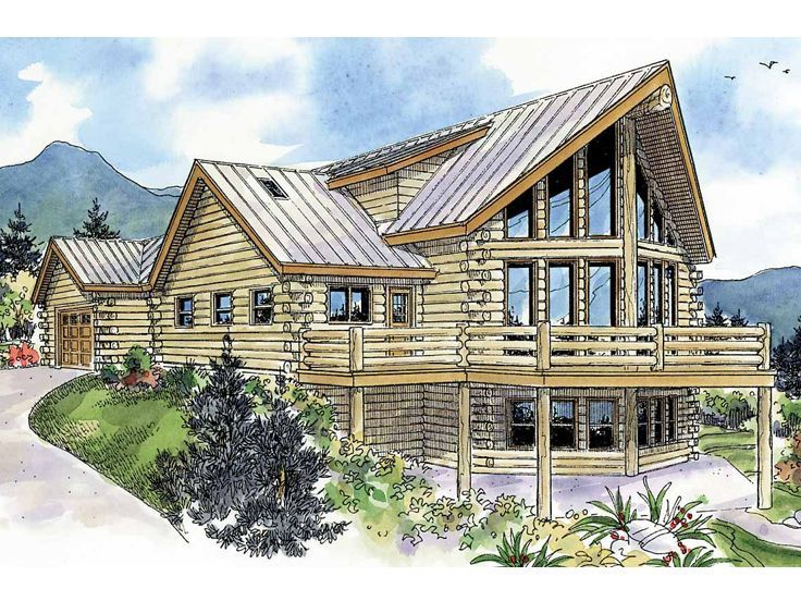 2 story log home plan 051l 0009 dream home pinterest for Three story log cabin
