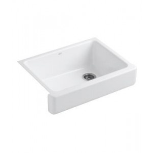Short Apron Front Sink : ... Self-Trimming apron front single-basin sink with short apron In White