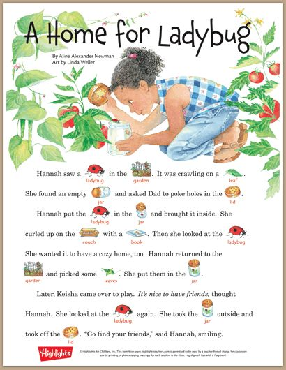Home for Ladybug, a rebus story | Learning Garden | Pinterest