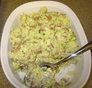 Red, White and Blue Potato Salad | 4th of July Ideas | Pinterest