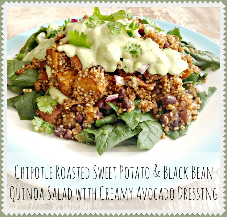 ... Sweet Potato & Black Bean Quinoa Salad with Creamy Avocado Dressing