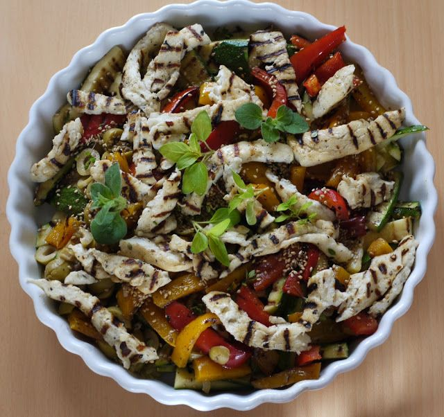 Grilled Courgette & Halloumi Salad | Low cal dinners | Pinterest