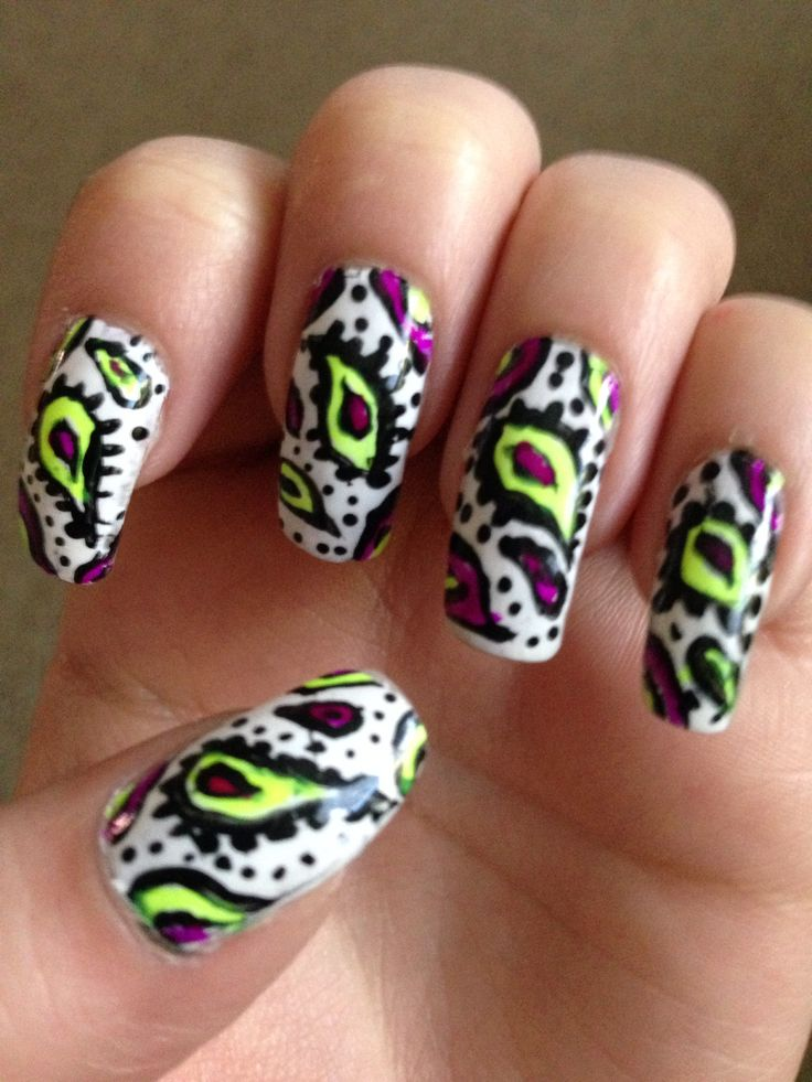 Nail Art Yellow And Purple : Neon yellow and purple paisley nail art my claws