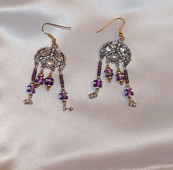 Purple And Silver Toned Choice Chandelier Earrings By Ricksiconics