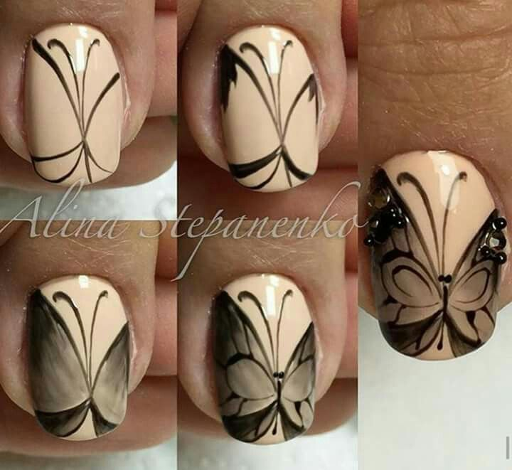 Рисунки бабочка на ногтях
