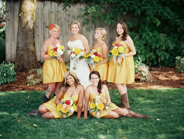 Yellow Bridesmaid Dresses With Cowgirl Boots 121