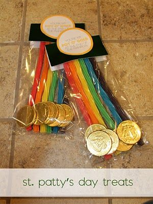 St. Patrick's Day class gifts using Twizzlers and chocolate coins...awesome!