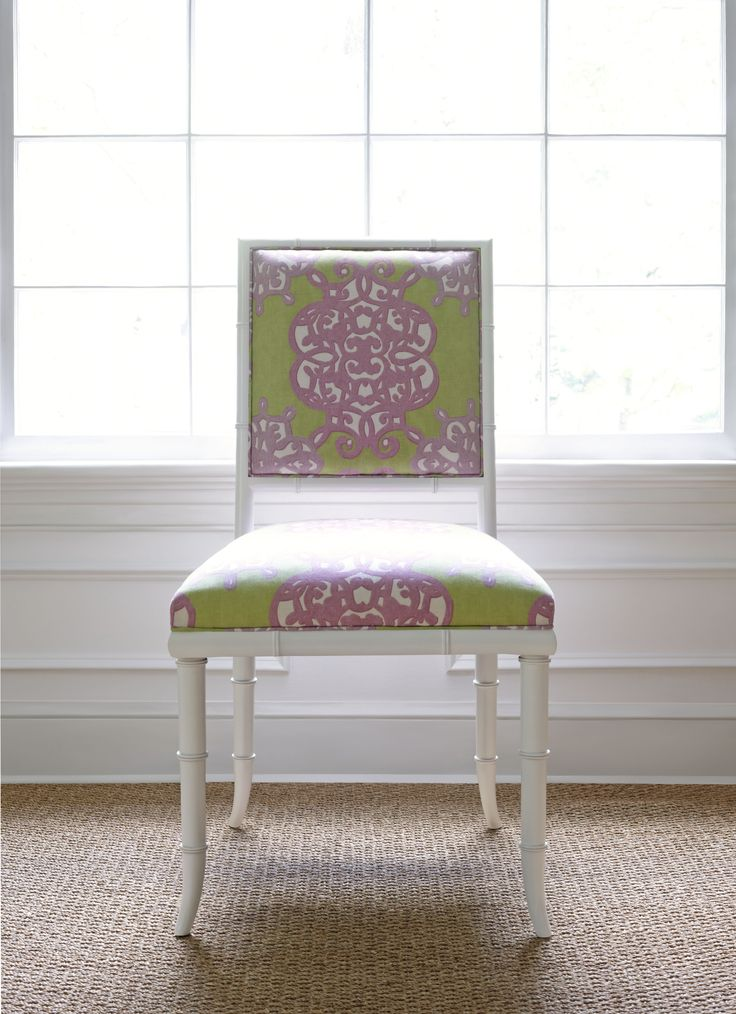 Darien Dining Chair in Jakarta Green & Lilac Thibaut