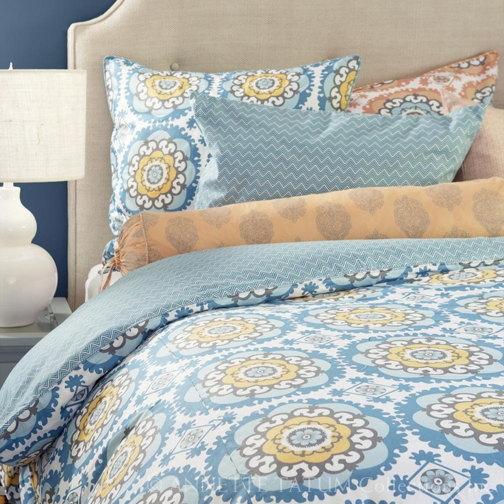 Blue orange bedding dream home pinterest - Orange and blue comforter ...