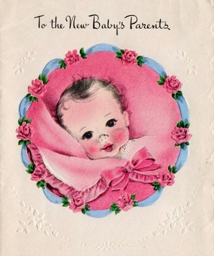 Pink blanket vintage baby showers birth anouncements gift wrap