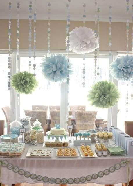 Pom poms and matching garland.
