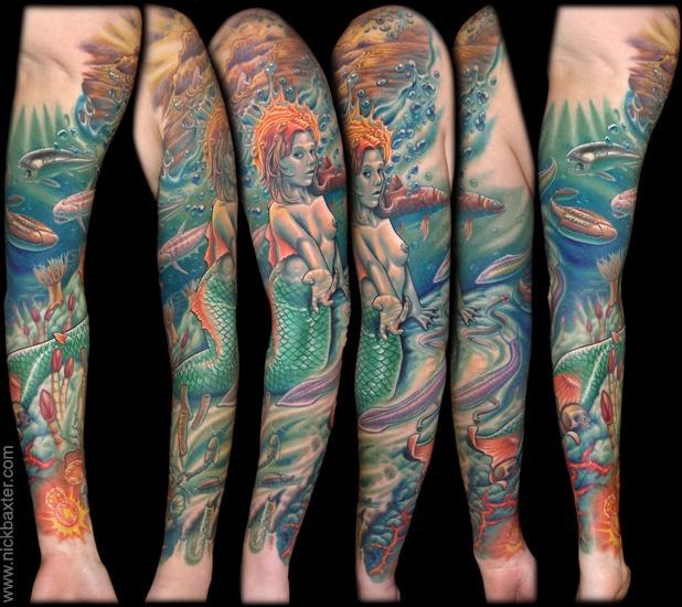Mermaid sleeve tattoo inspirations pinterest for Little mermaid tattoo sleeve