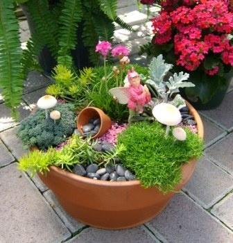 Table top fairy garden fantasy gardens fairy container gardens - Fairy garden containers ...