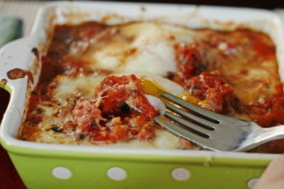 Two Cheese Baked Eggs in Tomatoes for Two by Sarah @ Sarah's Cucina ...