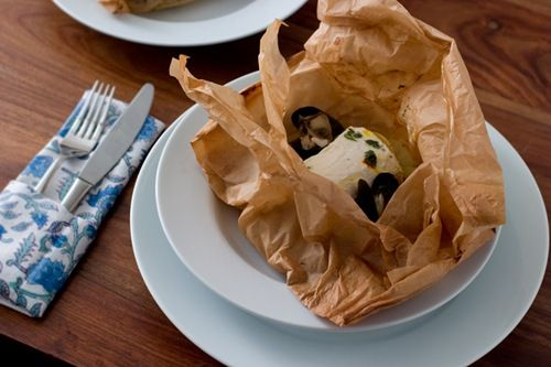 Halibut, Mussels, Fennel, Potato and Lovage en papillote with white ...