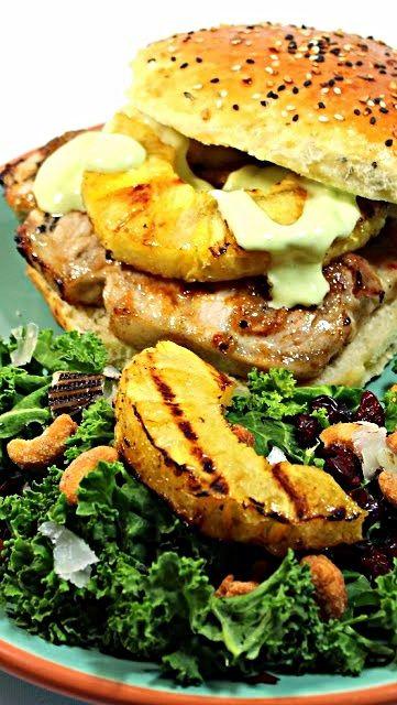 Pineapple Jerk Glazed PORK CHOP Sandwich | Entree | Pinterest