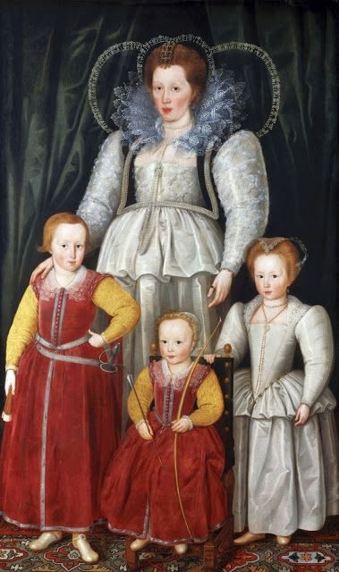 1595 Marcus Gheeraerts the younger (Flemish artist, 1561-1635). Anne Hopton (1561-1625) Lady Pope with son William & her children from 1st marriage.